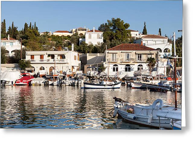 Habor Greeting Cards - Spetses island old harbour Greeting Card by Paul Cowan