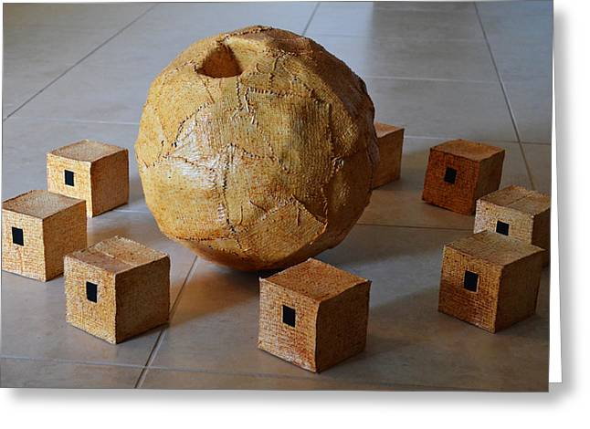 Spheres Sculptures Greeting Cards - Sphere and Cubes Greeting Card by Daniel P Cronin