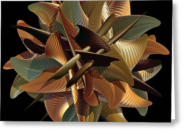 Geometric Digital Art Greeting Cards - Sphere of Green and Gold Greeting Card by Deborah Benoit