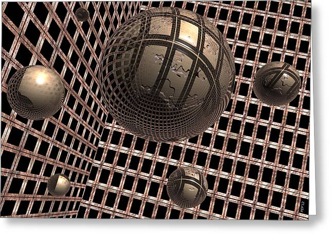 Surreal Geometric Greeting Cards - Spheres Under Construction Greeting Card by Phil Perkins