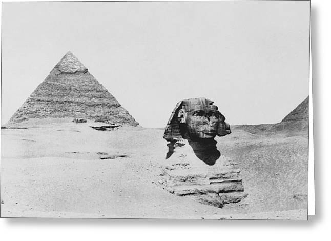 Sphinx And Pyramid, Egypt, 1850s Greeting Card by Science Photo Library