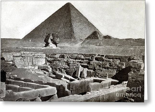 Monolith Greeting Cards - Sphinx And The Great Pyramid, 1887 Greeting Card by Science Source
