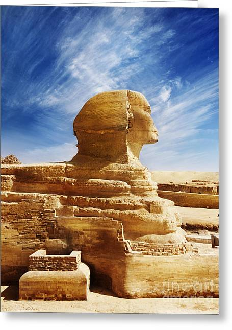 Stones Pyrography Greeting Cards - Sphinx Greeting Card by Jelena Jovanovic