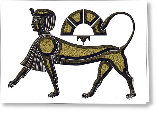 Rebus Greeting Cards - Sphinx - mythical creature of ancient Egypt Greeting Card by Michal Boubin