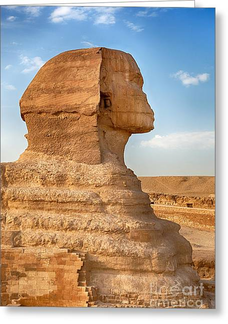 Pharaoh Photographs Greeting Cards - Sphinx profile Greeting Card by Jane Rix