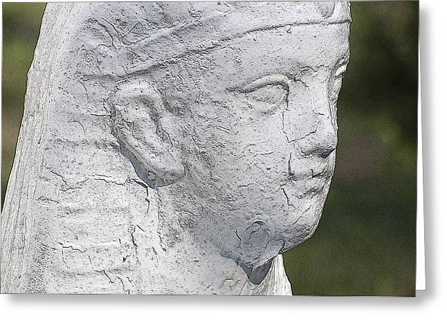 Lions Greeting Cards - Sphinx Statue Head White II USA Greeting Card by Sally Rockefeller