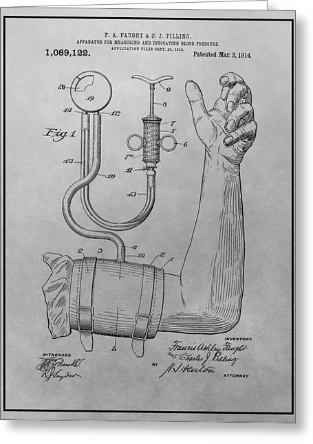 Medication Greeting Cards - Sphygmomanometer Patent Drawing Greeting Card by Dan Sproul