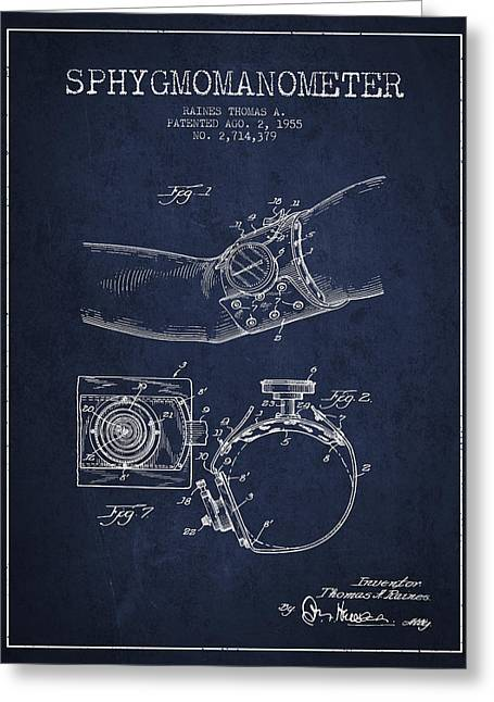 Pulse Greeting Cards - Sphygmomanometer patent drawing from 1955 - Navy Blue Greeting Card by Aged Pixel
