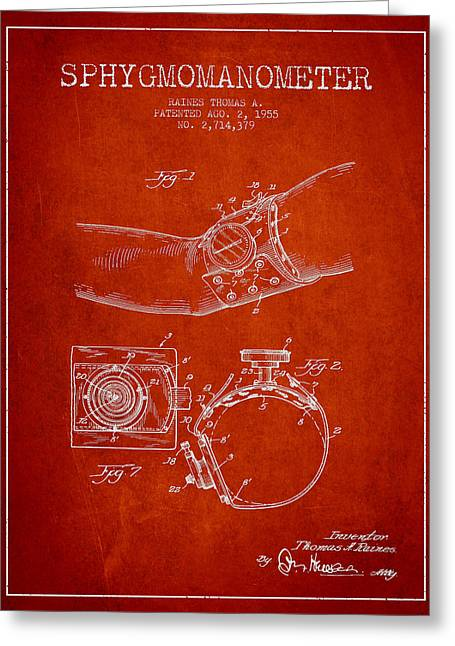 Pulse Greeting Cards - Sphygmomanometer patent drawing from 1955 - Red Greeting Card by Aged Pixel