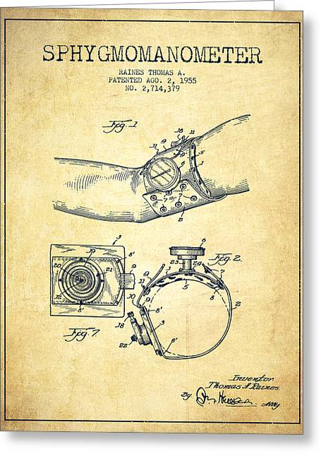 Medical Greeting Cards - Sphygmomanometer patent drawing from 1955 - Vintage Greeting Card by Aged Pixel