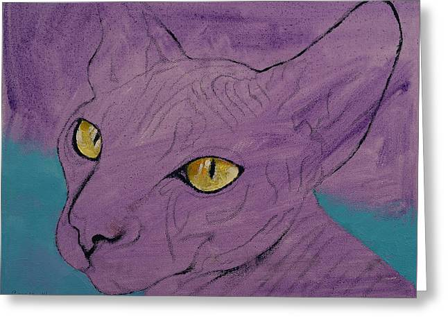 Sphynx Cat Prints Greeting Cards - Sphynx Greeting Card by Michael Creese