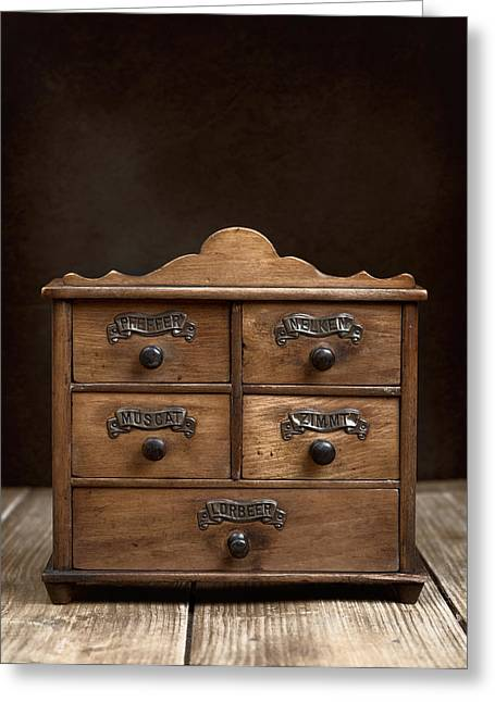Label Photographs Greeting Cards - Spice Cabinet Greeting Card by Amanda And Christopher Elwell