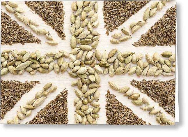 Harvest Art Greeting Cards - Spice Flag Greeting Card by Anne Gilbert