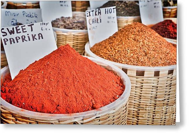 Asian Market Greeting Cards - Spice market Greeting Card by Delphimages Photo Creations