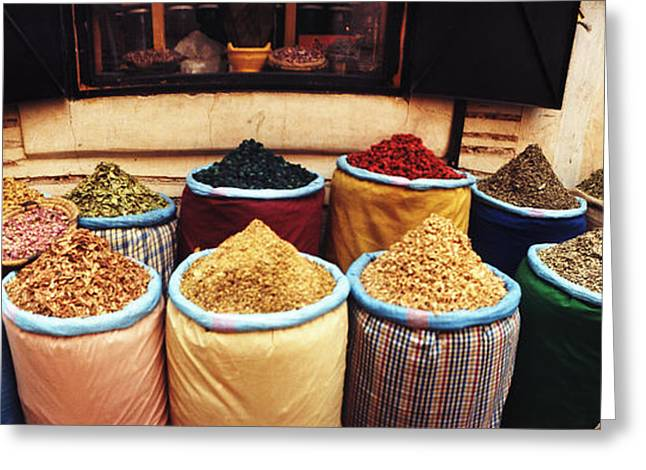 Marrakech Greeting Cards - Spice Market Inside The Medina Greeting Card by Panoramic Images