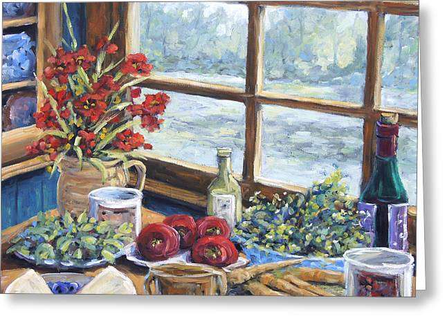 Interior Scene Paintings Greeting Cards - Spice Table by Prankearts Greeting Card by Richard T Pranke