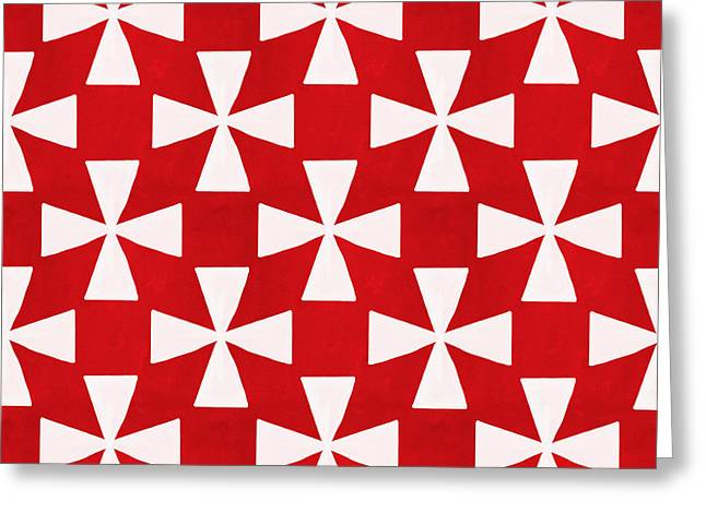 Geometric Shape Mixed Media Greeting Cards - Spice Twirl- Red and White Pattern Greeting Card by Linda Woods