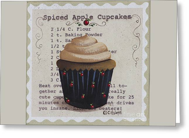 Apple Art Greeting Cards - Spiced Apple Cupcake Greeting Card by Catherine Holman