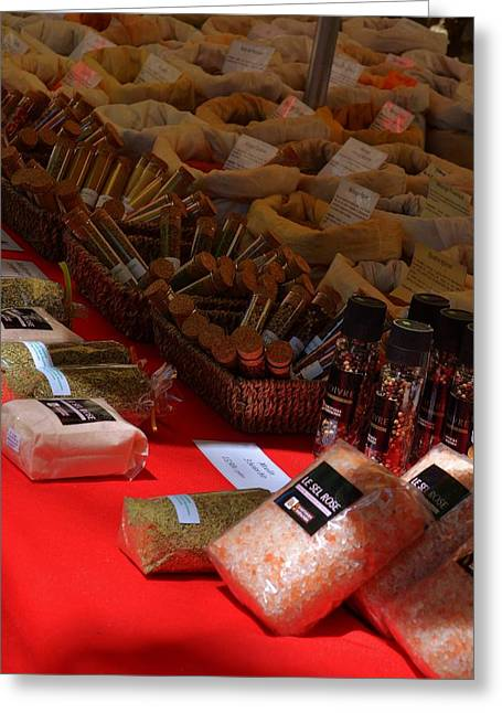 Sel Greeting Cards - Spices at the Market Greeting Card by Dany  Lison