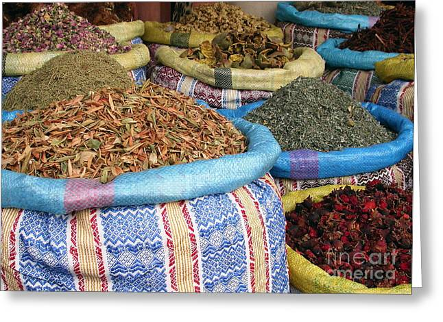 Still Life Photographs Greeting Cards - Spices at the Souk Greeting Card by Sophie Vigneault