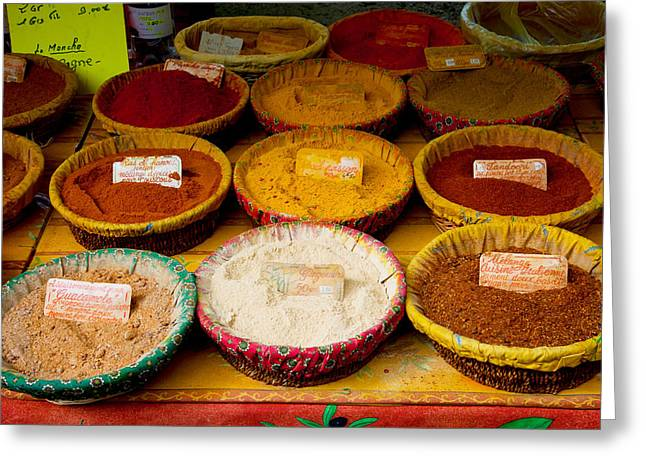 Vaucluse Greeting Cards - Spices For Sale At A Market Stall Greeting Card by Panoramic Images