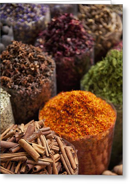 Differential Focus Greeting Cards - Spices For Sale In Spice Market Dubai Greeting Card by Ian Cumming