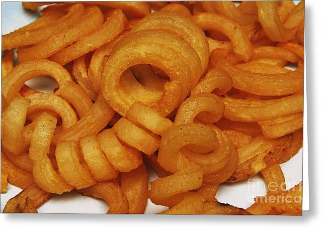 French Fries Greeting Cards - Spicy Curly Fries 1 Greeting Card by Andee Design