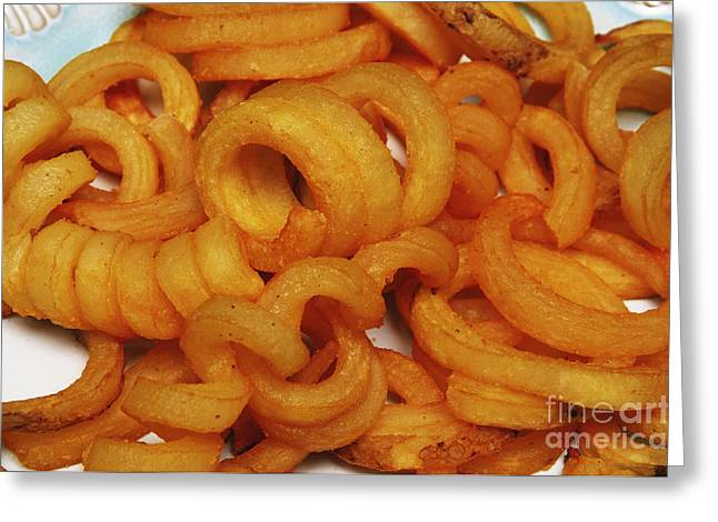 French Fries Greeting Cards - Spicy Curly Fries 2 Greeting Card by Andee Design