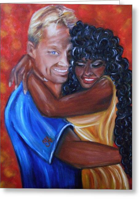 Interracial Love Greeting Cards - Spicy - Interracial Lovers Series Greeting Card by Yesi Casanova