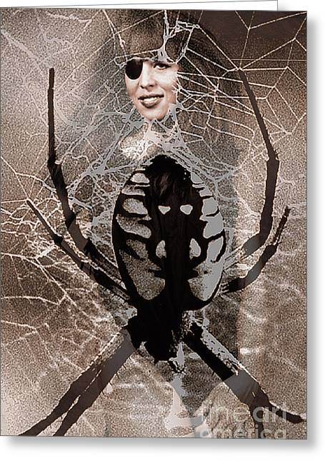 Creative Manipulation Greeting Cards - Spider Composite Greeting Card by Andrew Govan Dantzler
