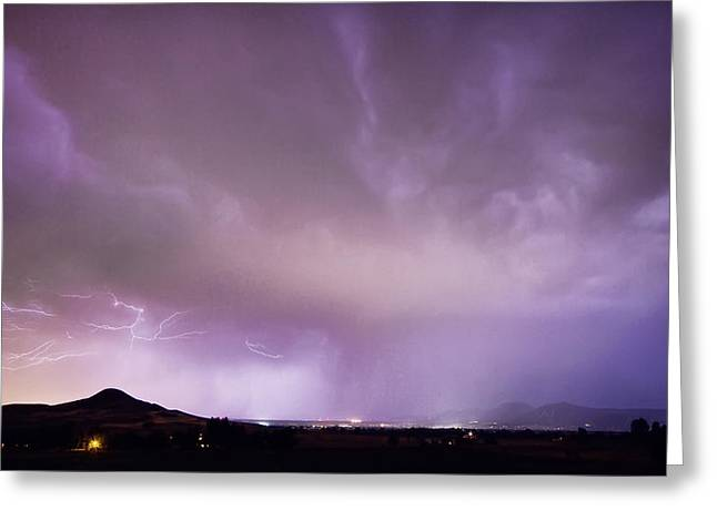 Storm Prints Photographs Greeting Cards - Spider Lightning Above Haystack Boulder Colorado Greeting Card by James BO  Insogna