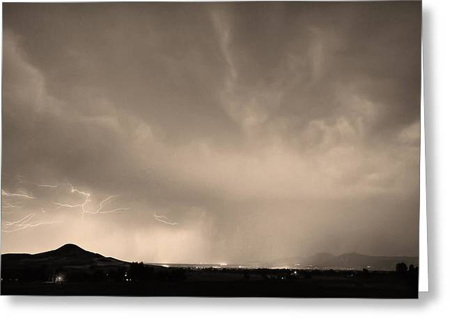 Storm Prints Photographs Greeting Cards - Spider Lightning Above Haystack Boulder Colorado Sepia Greeting Card by James BO  Insogna