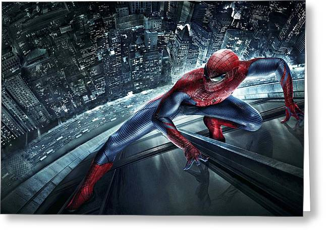 Crime Fighter Digital Art Greeting Cards - Spider Man 210 Greeting Card by Movie Poster Prints