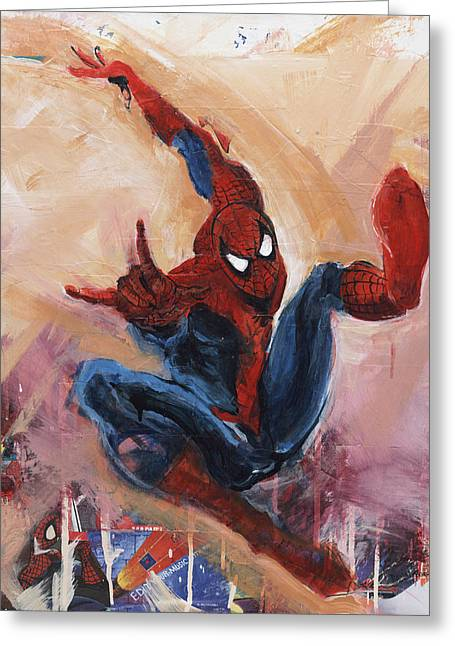 Comic Book Character Paintings Greeting Cards - Spider-Man Greeting Card by David Leblanc