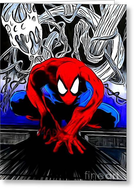 Justin Moore Digital Art Greeting Cards - Spider-Man Enhanced Editon Greeting Card by Justin Moore