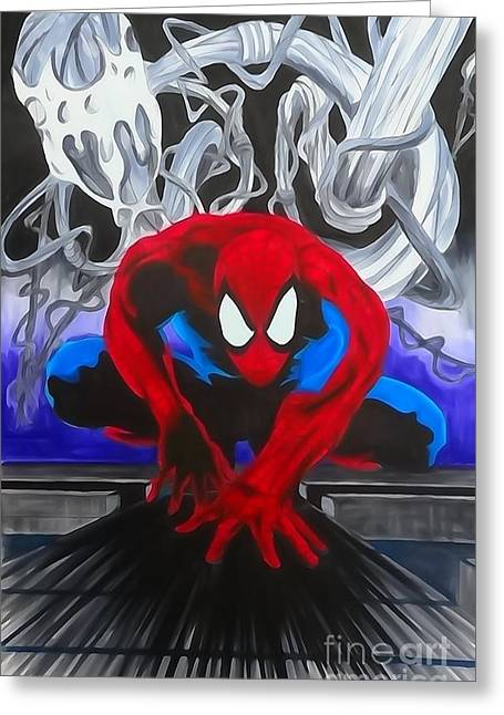 Justin Moore Digital Art Greeting Cards - Spider-Man Enhanced Watercolor Greeting Card by Justin Moore