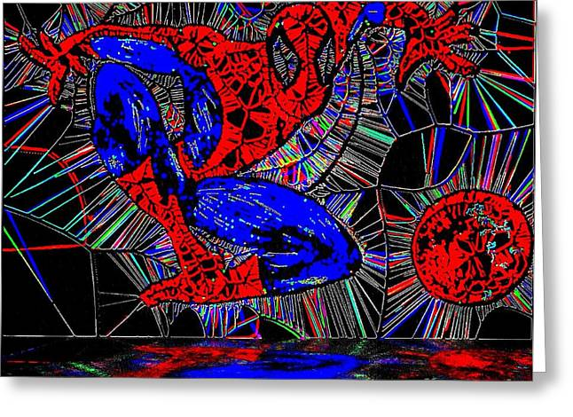 Crime Fighter Greeting Cards - Spider-Man Out of The Web 2 Greeting Card by Saundra Myles