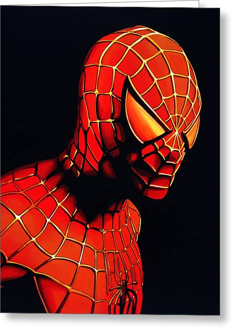 Character Portraits Greeting Cards - Spider-Man Greeting Card by Paul Meijering