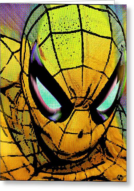 Empower Mixed Media Greeting Cards - Spider-Man Pop Gold Greeting Card by Tony Rubino