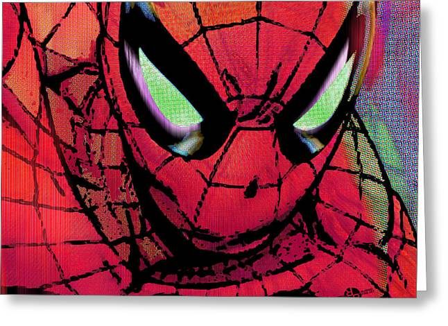 Spider-man Greeting Cards - Spider-Man Pop Horizontal Greeting Card by Tony Rubino