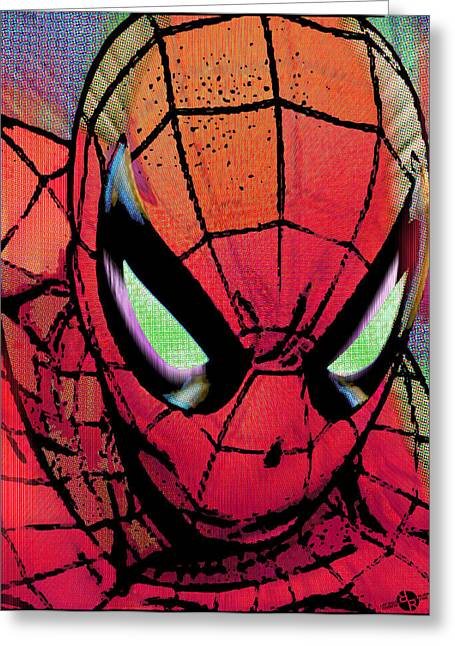 Empower Mixed Media Greeting Cards - Spider-Man Pop Greeting Card by Tony Rubino