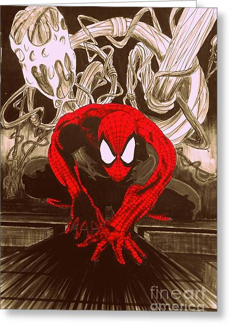 Justin Moore Digital Art Greeting Cards - Spider-Man RED Posterized Edition Greeting Card by Justin Moore