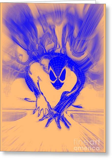 Justin Moore Digital Art Greeting Cards - Spider-Man T B Blast Greeting Card by Justin Moore