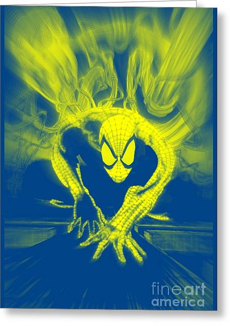 Justin Moore Digital Art Greeting Cards - Spider-Man Y B Blast Greeting Card by Justin Moore
