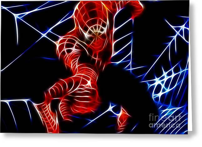 Spider-man Greeting Cards - Incredible Spiderman Greeting Card by Pamela Johnson