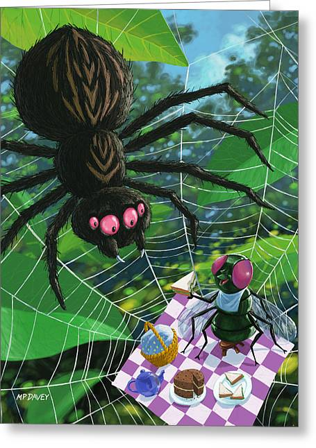 Spider And Fly Greeting Cards - Spider Picnic Greeting Card by Martin Davey