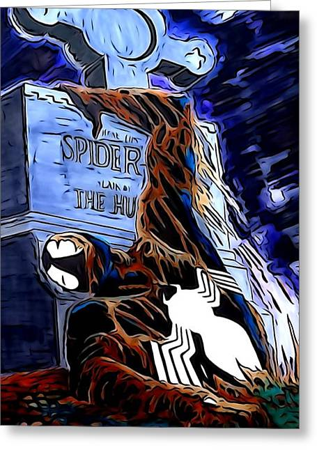 The Lightning Man Digital Art Greeting Cards - Spider Resurrection Painting Greeting Card by Justin Moore