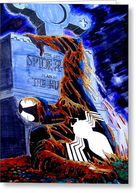The Lightning Man Drawings Greeting Cards - Spider Resurrection Pop Art Greeting Card by Justin Moore