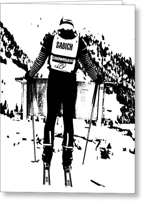 Ski Racing Greeting Cards - Spider Sabich looking over the race course Greeting Card by Larry Kjorvestad