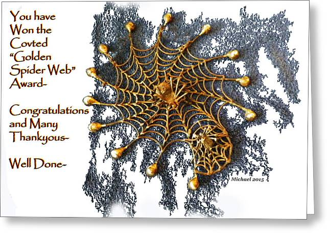 Spider Web Greeting Cards - Spider Web Congratulation Thank you Well Done Greeting Card by Michael Shone SR